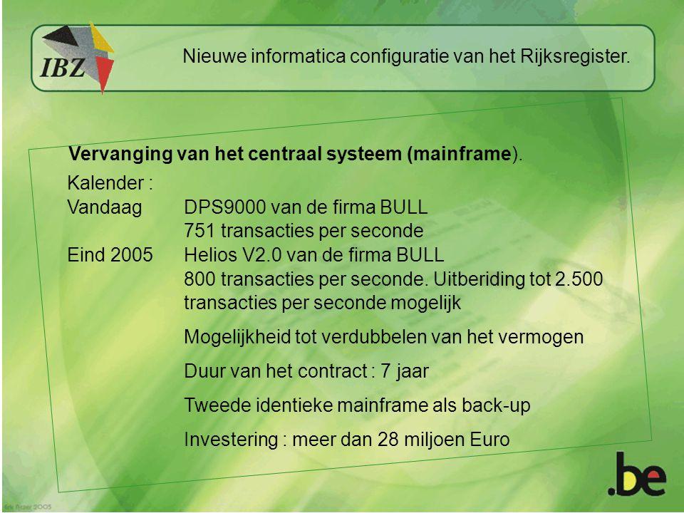 Vervanging van het centraal systeem (mainframe). Kalender : VandaagDPS9000 van de firma BULL 751 transacties per seconde Eind 2005Helios V2.0 van de f