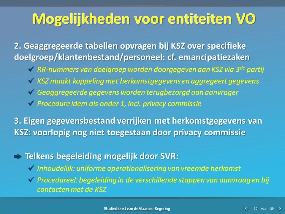 20 Studiedienst van de Vlaamse Regering van20 2.