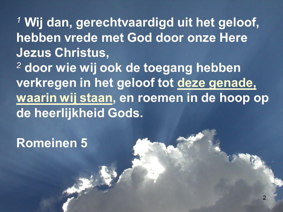 2 1 Wij dan, gerechtvaardigd uit het geloof, hebben vrede met God door onze Here Jezus Christus, 2 door wie wij ook de toegang hebben verkregen in het geloof tot deze genade, waarin wij staan, en roemen in de hoop op de heerlijkheid Gods.