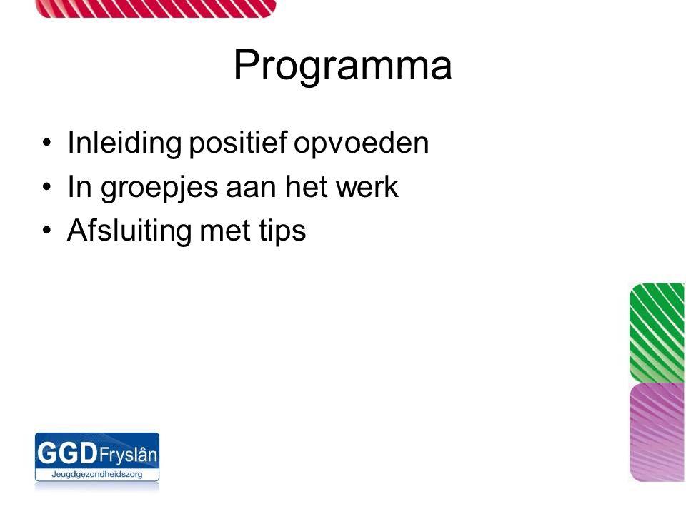 Programma Inleiding positief opvoeden In groepjes aan het werk Afsluiting met tips