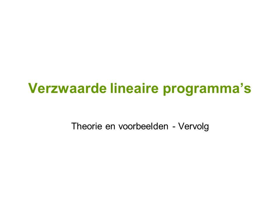 Verzwaarde lineaire programma's Theorie en voorbeelden - Vervolg