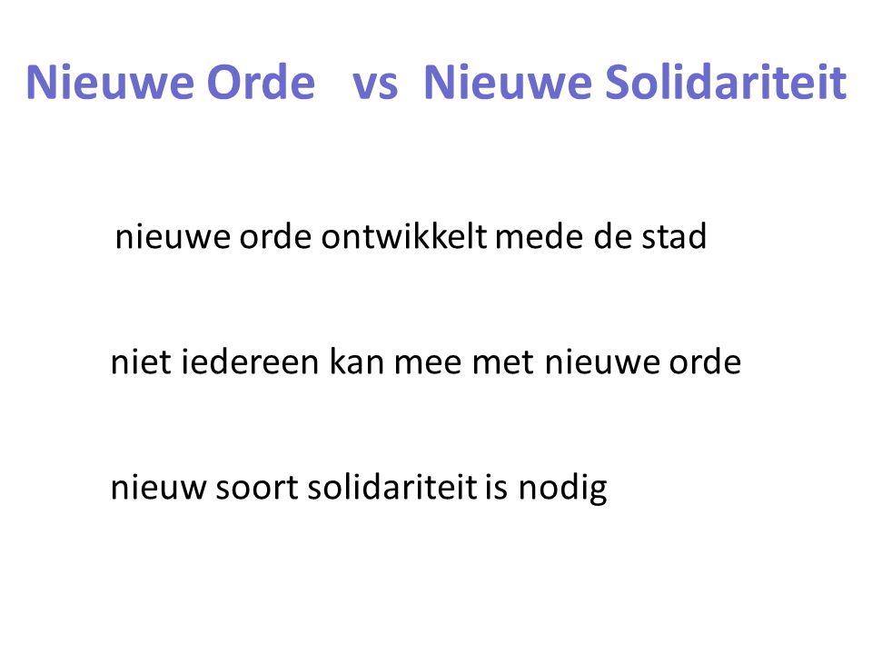 nieuwe orde ontwikkelt mede de stad niet iedereen kan mee met nieuwe orde nieuw soort solidariteit is nodig Nieuwe Orde vs Nieuwe Solidariteit