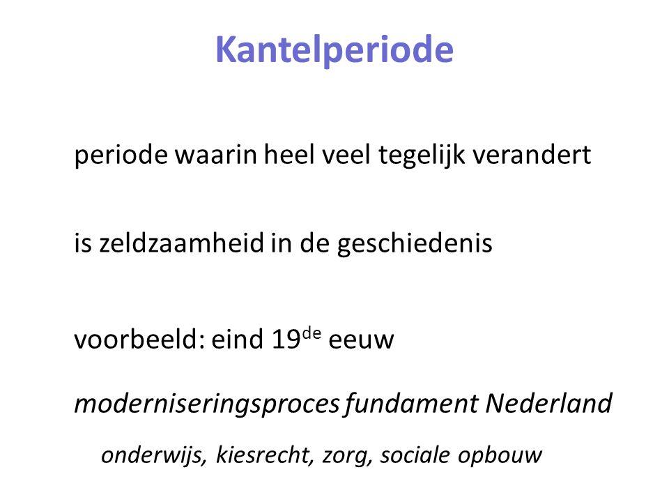 Kantelperiode periode waarin heel veel tegelijk verandert is zeldzaamheid in de geschiedenis voorbeeld: eind 19 de eeuw moderniseringsproces fundament Nederland onderwijs, kiesrecht, zorg, sociale opbouw