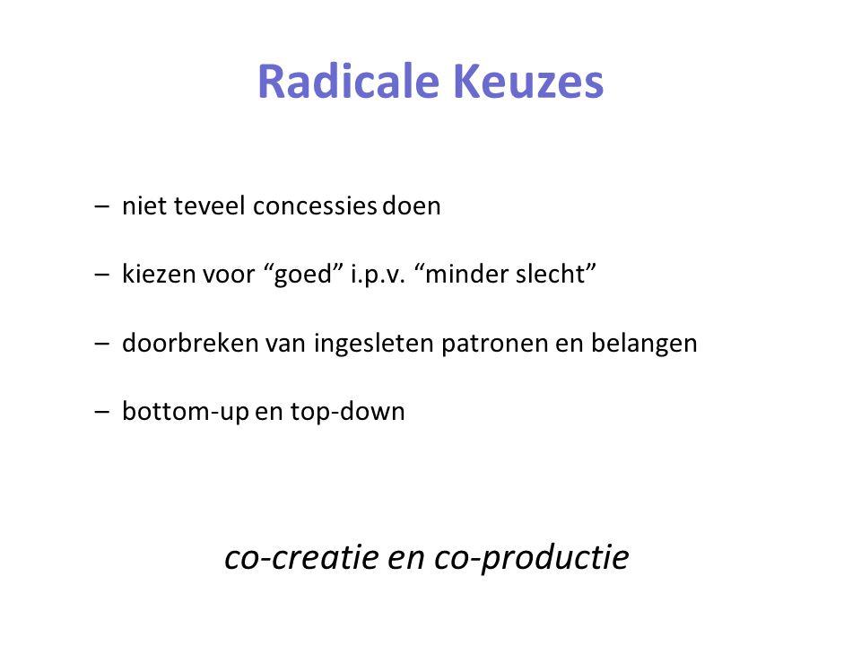 Radicale Keuzes –niet teveel concessies doen –kiezen voor goed i.p.v.
