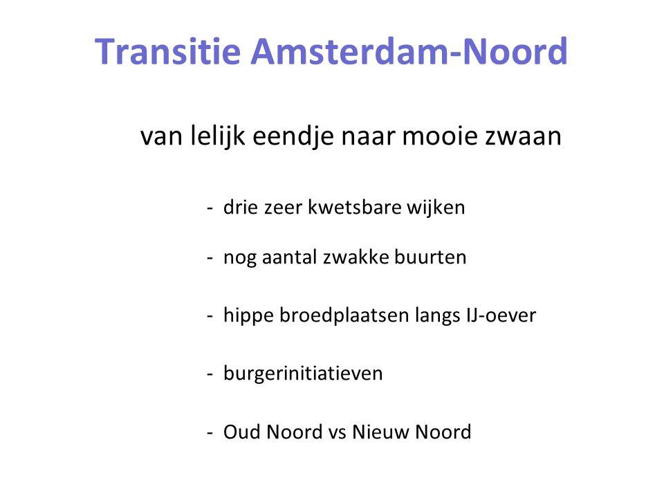 Transitie Amsterdam-Noord van lelijk eendje naar mooie zwaan - drie zeer kwetsbare wijken - nog aantal zwakke buurten - hippe broedplaatsen langs IJ-oever - burgerinitiatieven - Oud Noord vs Nieuw Noord