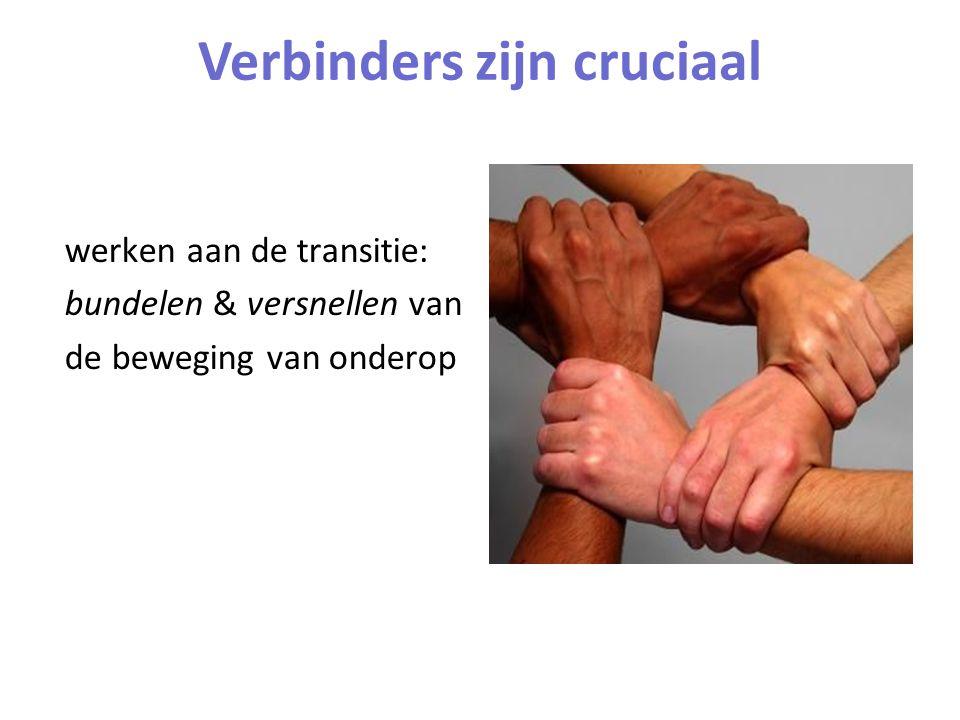 werken aan de transitie: bundelen & versnellen van de beweging van onderop Verbinders zijn cruciaal