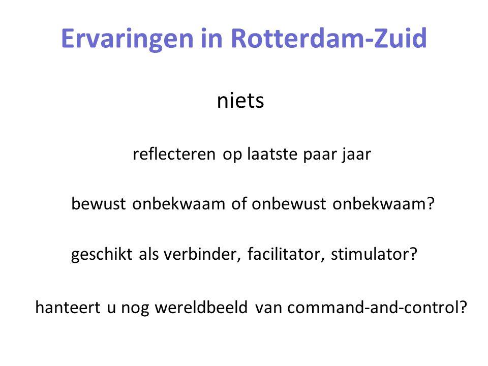 Ervaringen in Rotterdam-Zuid niets reflecteren op laatste paar jaar bewust onbekwaam of onbewust onbekwaam? geschikt als verbinder, facilitator, stimu