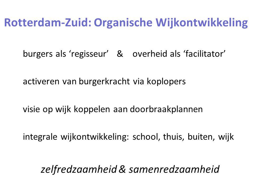 Rotterdam-Zuid: Organische Wijkontwikkeling burgers als 'regisseur' & overheid als 'facilitator' activeren van burgerkracht via koplopers visie op wijk koppelen aan doorbraakplannen integrale wijkontwikkeling: school, thuis, buiten, wijk zelfredzaamheid & samenredzaamheid