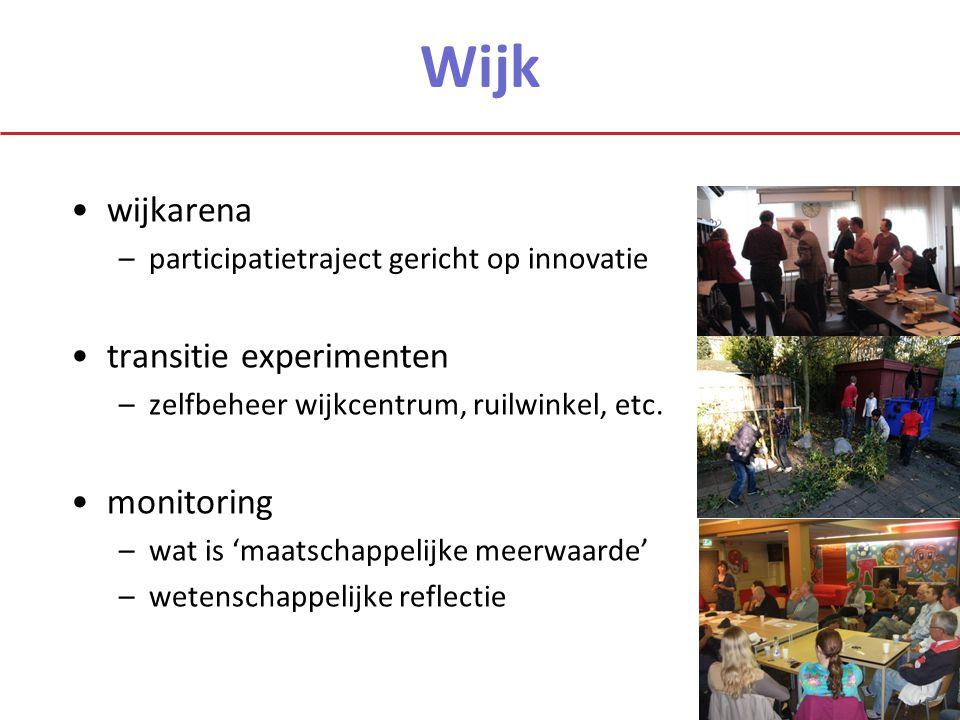 Wijk wijkarena –participatietraject gericht op innovatie transitie experimenten –zelfbeheer wijkcentrum, ruilwinkel, etc. monitoring –wat is 'maatscha