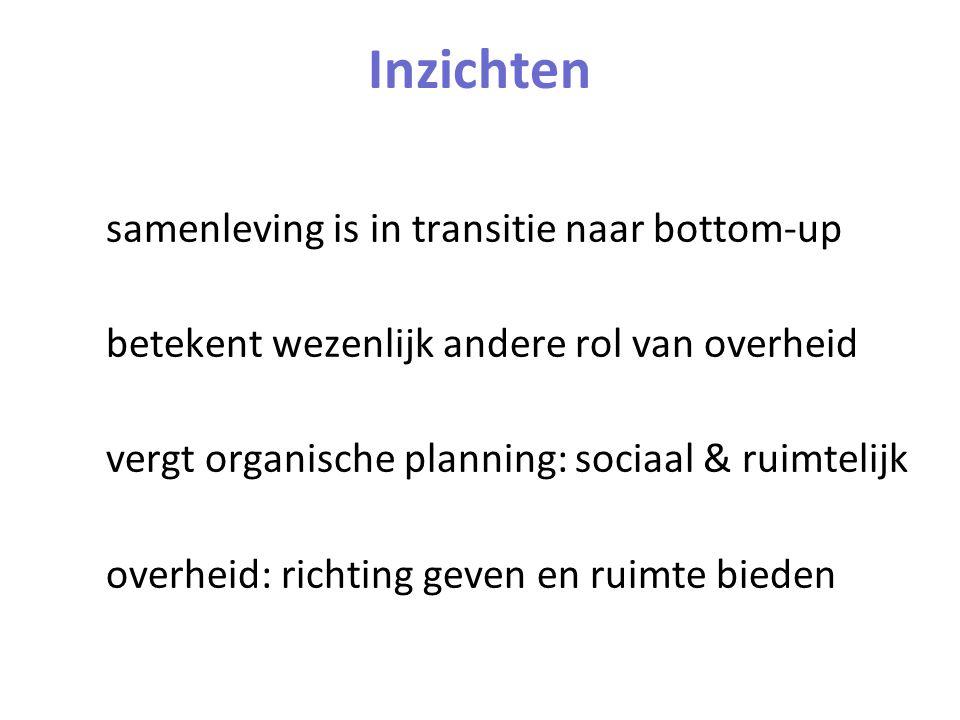 Inzichten samenleving is in transitie naar bottom-up betekent wezenlijk andere rol van overheid vergt organische planning: sociaal & ruimtelijk overheid: richting geven en ruimte bieden