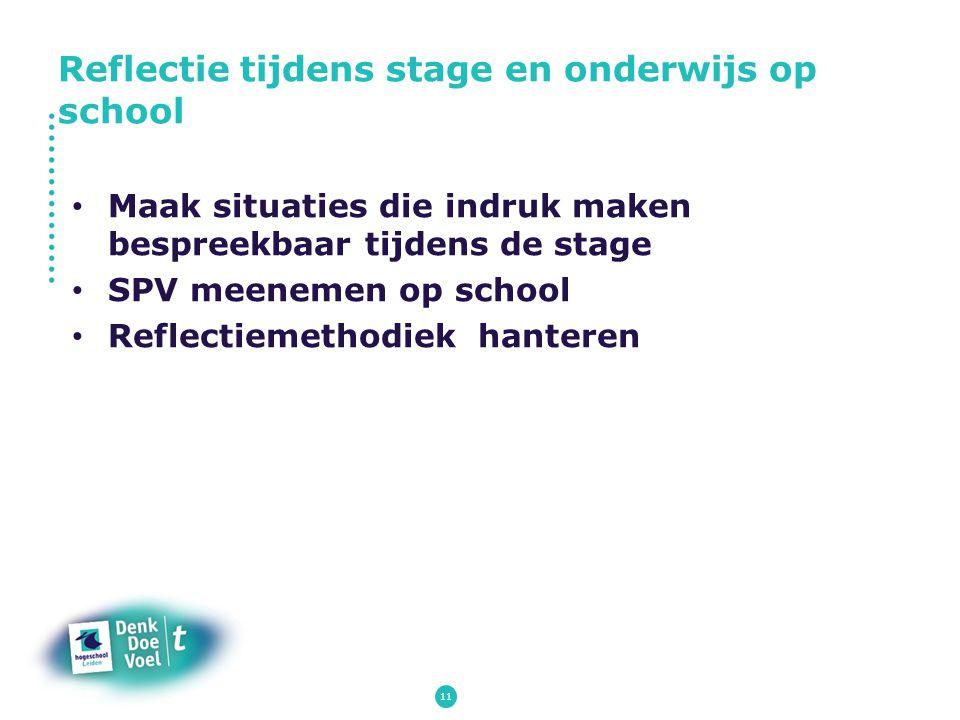 11 Maak situaties die indruk maken bespreekbaar tijdens de stage SPV meenemen op school Reflectiemethodiek hanteren Reflectie tijdens stage en onderwi