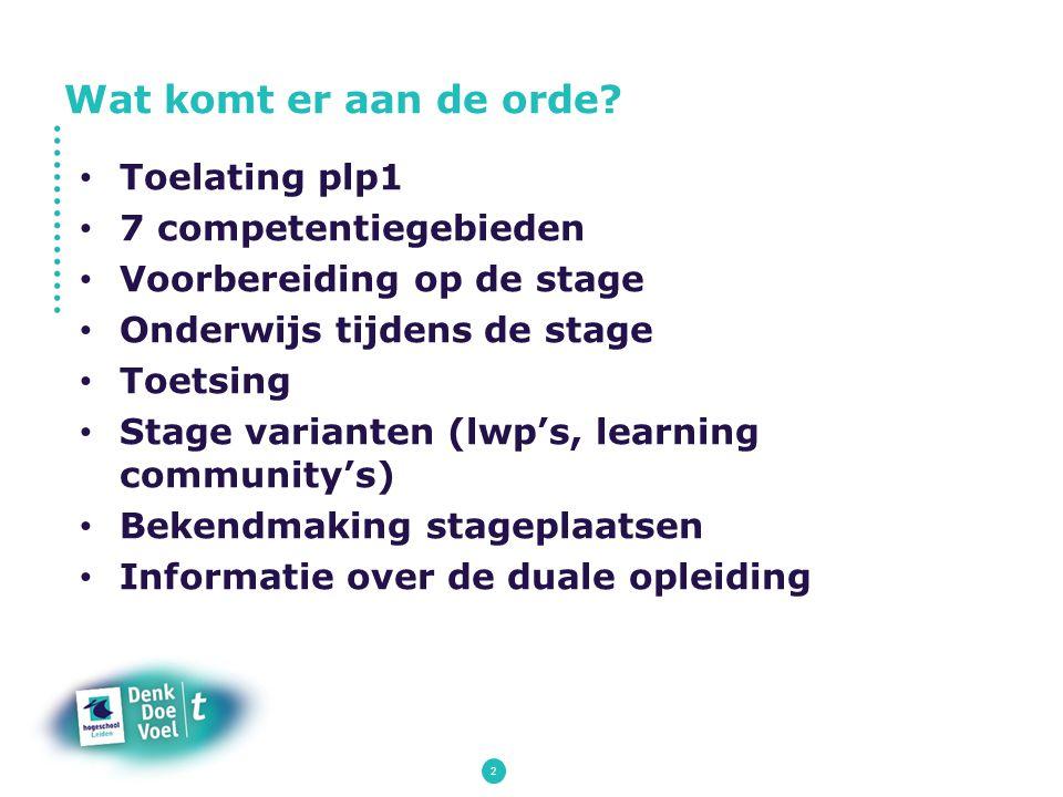2 Toelating plp1 7 competentiegebieden Voorbereiding op de stage Onderwijs tijdens de stage Toetsing Stage varianten (lwp's, learning community's) Bek