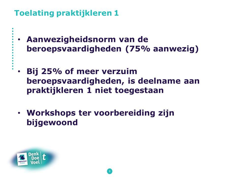 3 Aanwezigheidsnorm van de beroepsvaardigheden (75% aanwezig) Bij 25% of meer verzuim beroepsvaardigheden, is deelname aan praktijkleren 1 niet toeges