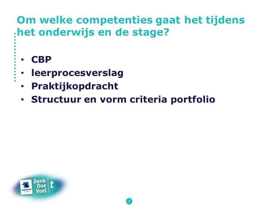 7 CBP leerprocesverslag Praktijkopdracht Structuur en vorm criteria portfolio Om welke competenties gaat het tijdens het onderwijs en de stage?