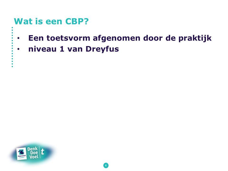 8 Een toetsvorm afgenomen door de praktijk niveau 1 van Dreyfus Wat is een CBP?