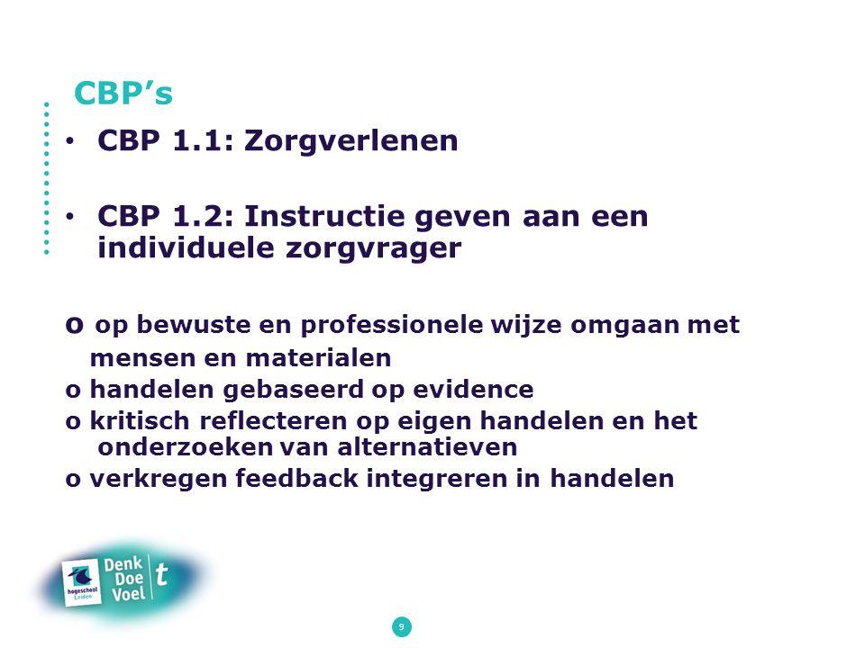 9 CBP 1.1: Zorgverlenen CBP 1.2: Instructie geven aan een individuele zorgvrager o op bewuste en professionele wijze omgaan met mensen en materialen o
