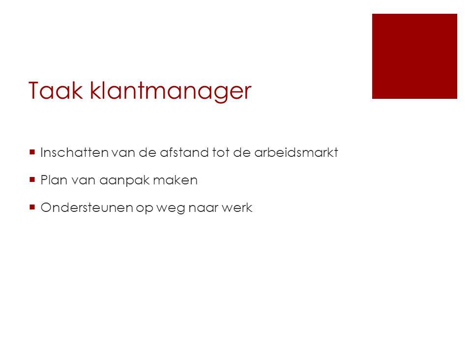 Taak klantmanager  Inschatten van de afstand tot de arbeidsmarkt  Plan van aanpak maken  Ondersteunen op weg naar werk