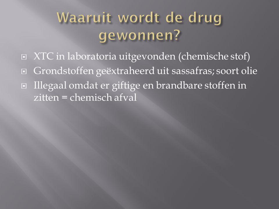  XTC in laboratoria uitgevonden (chemische stof)  Grondstoffen geëxtraheerd uit sassafras; soort olie  Illegaal omdat er giftige en brandbare stoffen in zitten = chemisch afval