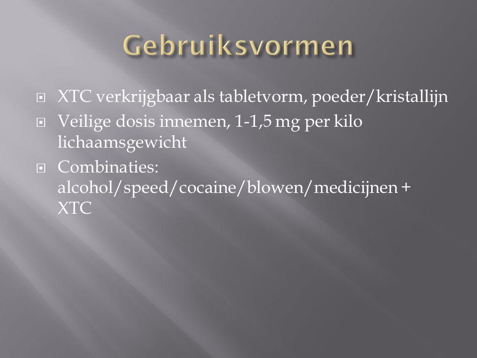  XTC verkrijgbaar als tabletvorm, poeder/kristallijn  Veilige dosis innemen, 1-1,5 mg per kilo lichaamsgewicht  Combinaties: alcohol/speed/cocaine/