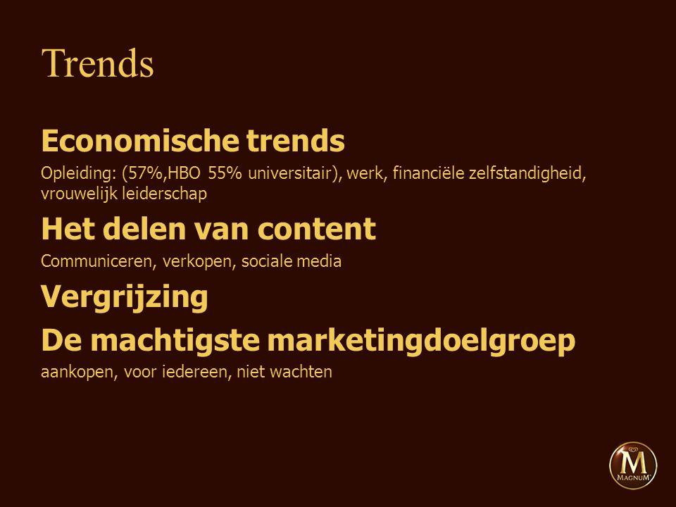 Economische trends Opleiding: (57%,HBO 55% universitair), werk, financiële zelfstandigheid, vrouwelijk leiderschap Het delen van content Communiceren, verkopen, sociale media Vergrijzing De machtigste marketingdoelgroep aankopen, voor iedereen, niet wachten Trends