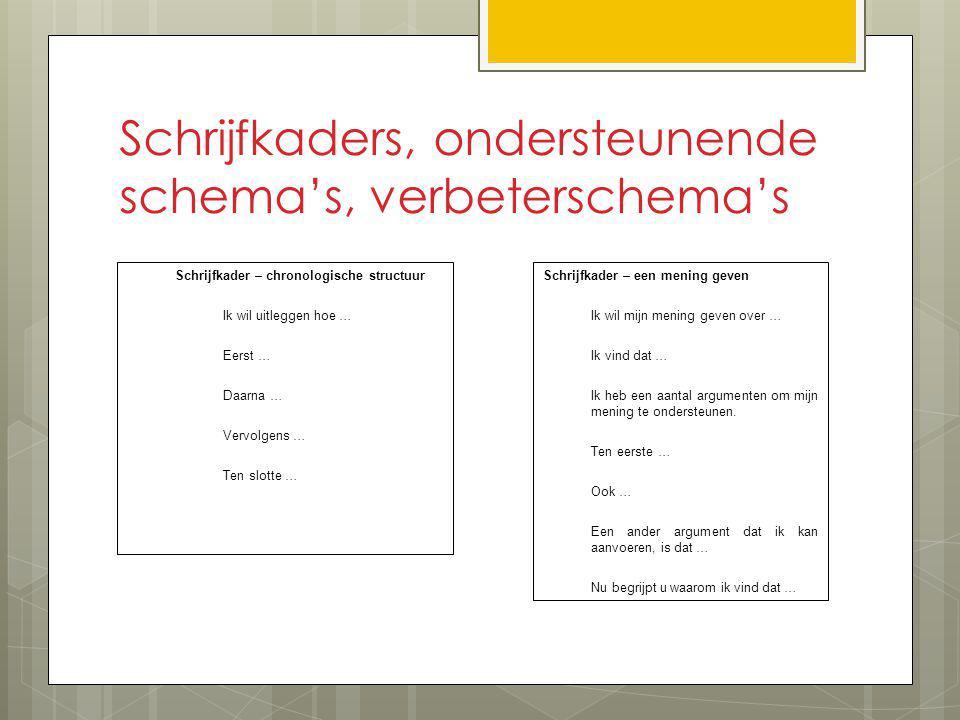 Schrijfkaders, ondersteunende schema's, verbeterschema's Schrijfkader – chronologische structuur Ik wil uitleggen hoe … Eerst … Daarna … Vervolgens …