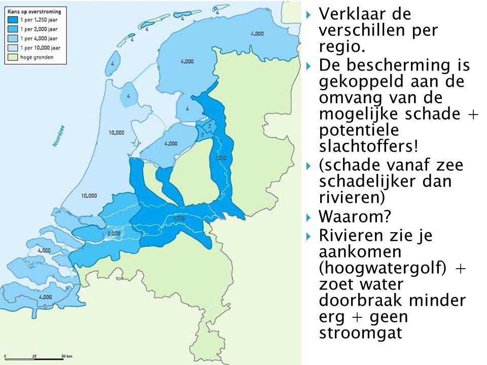  Verklaar de verschillen per regio.  De bescherming is gekoppeld aan de omvang van de mogelijke schade + potentiele slachtoffers!  (schade vanaf ze