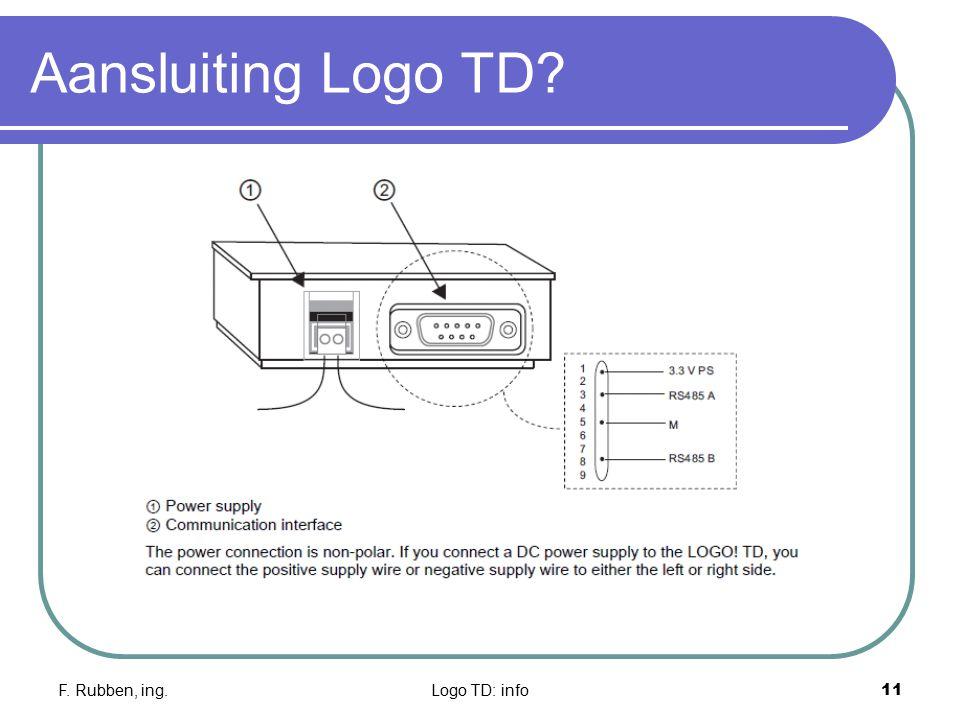 F. Rubben, ing.Logo TD: info11 Aansluiting Logo TD?