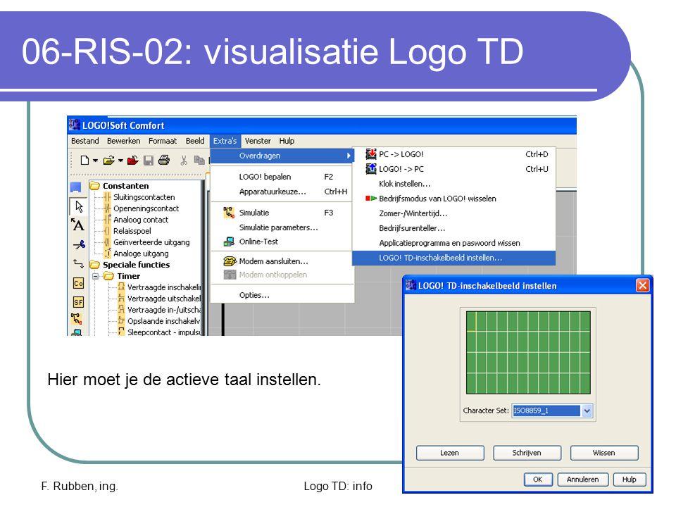 F. Rubben, ing.Logo TD: info13 06-RIS-02: visualisatie Logo TD Hier moet je de actieve taal instellen.