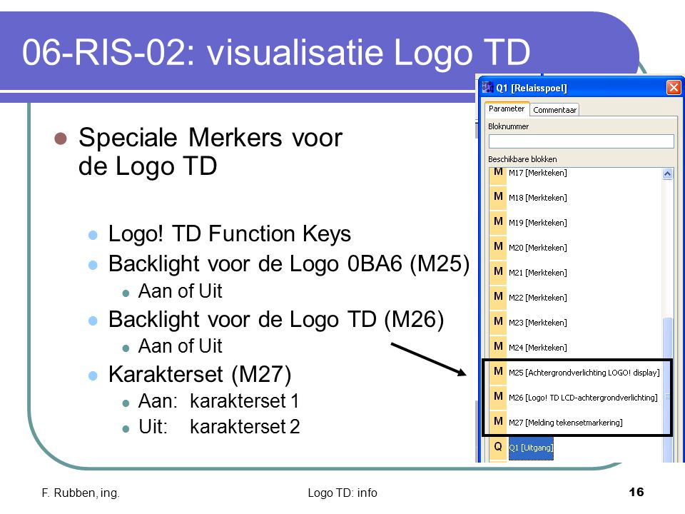 F. Rubben, ing.Logo TD: info16 06-RIS-02: visualisatie Logo TD Speciale Merkers voor de Logo TD Logo! TD Function Keys Backlight voor de Logo 0BA6 (M2