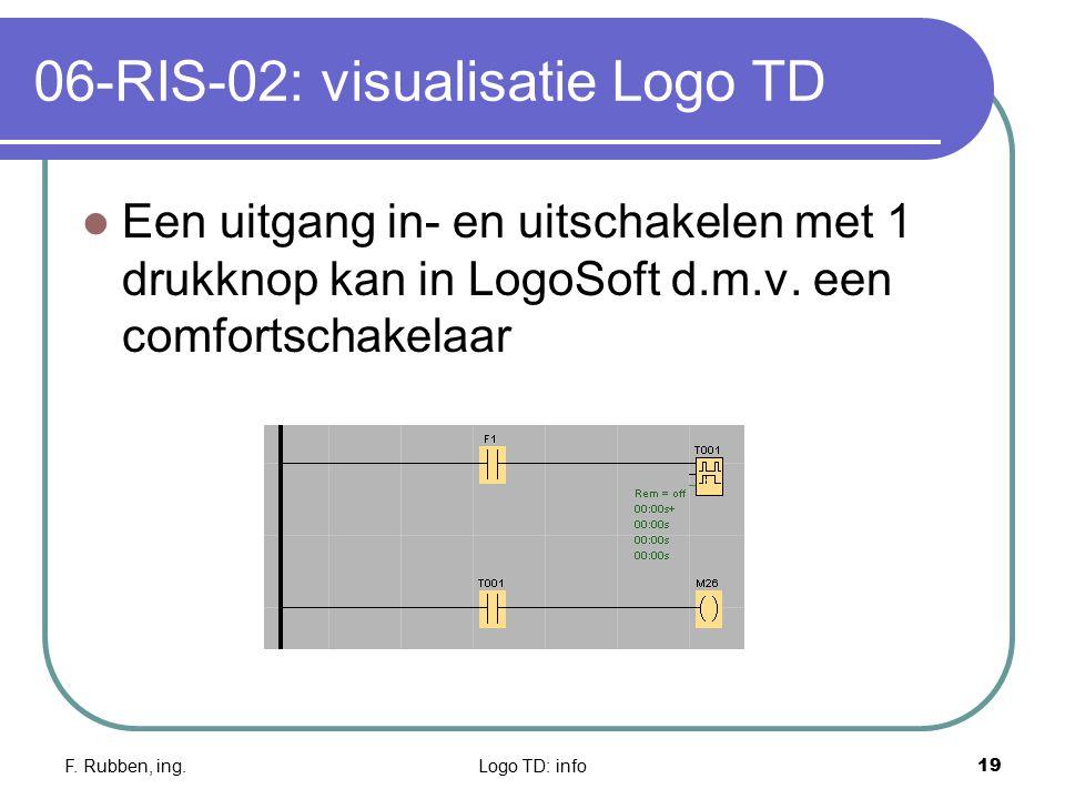 F. Rubben, ing.Logo TD: info19 06-RIS-02: visualisatie Logo TD Een uitgang in- en uitschakelen met 1 drukknop kan in LogoSoft d.m.v. een comfortschake