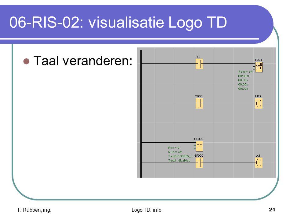 F. Rubben, ing.Logo TD: info21 06-RIS-02: visualisatie Logo TD Taal veranderen: