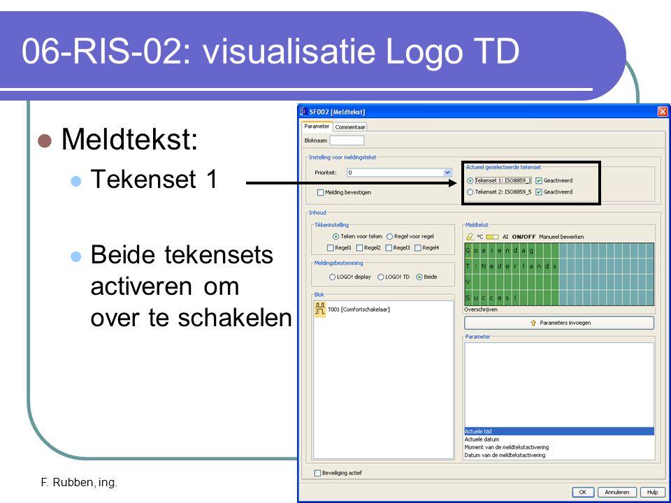 F. Rubben, ing.Logo TD: info22 06-RIS-02: visualisatie Logo TD Meldtekst: Tekenset 1 Beide tekensets activeren om over te schakelen