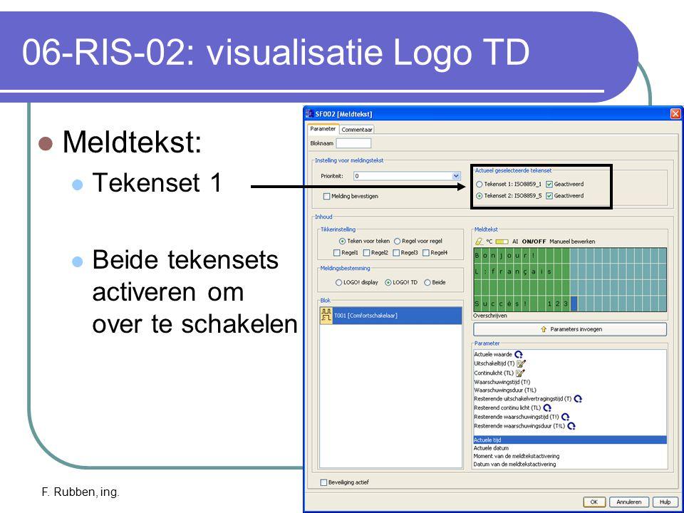 F. Rubben, ing.Logo TD: info23 06-RIS-02: visualisatie Logo TD Meldtekst: Tekenset 1 Beide tekensets activeren om over te schakelen