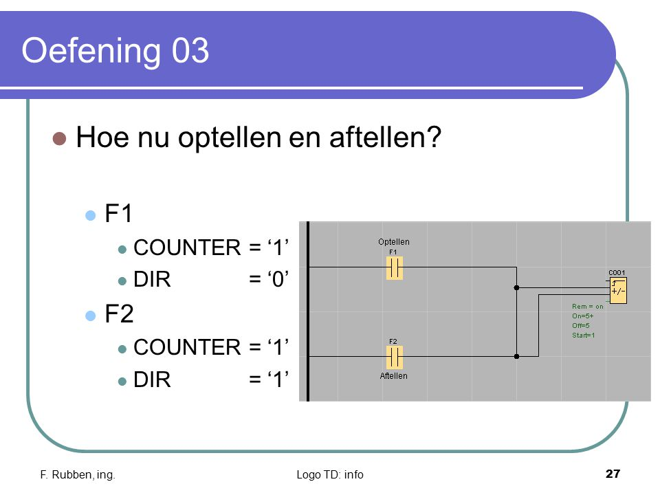 F. Rubben, ing.Logo TD: info27 Oefening 03 Hoe nu optellen en aftellen? F1 COUNTER = '1' DIR = '0' F2 COUNTER = '1' DIR= '1'