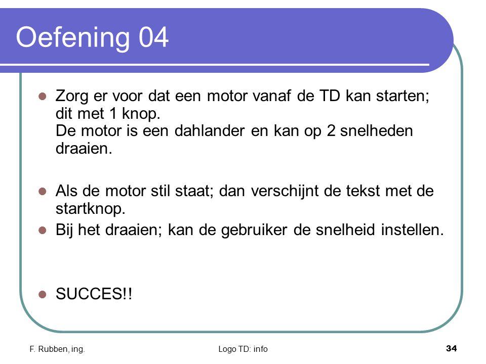F. Rubben, ing.Logo TD: info34 Oefening 04 Zorg er voor dat een motor vanaf de TD kan starten; dit met 1 knop. De motor is een dahlander en kan op 2 s