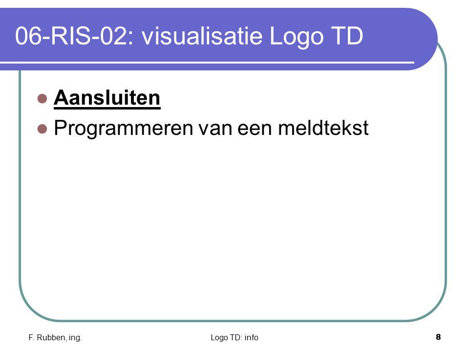 F. Rubben, ing.Logo TD: info8 06-RIS-02: visualisatie Logo TD Aansluiten Programmeren van een meldtekst