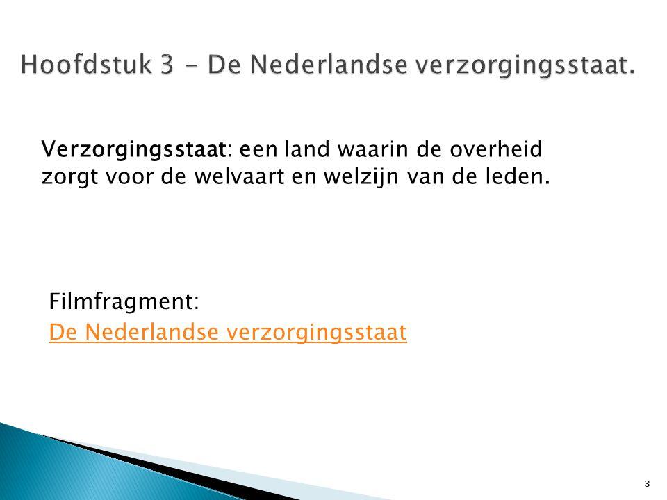 Filmfragment: De Nederlandse verzorgingsstaat 3 Verzorgingsstaat: een land waarin de overheid zorgt voor de welvaart en welzijn van de leden.
