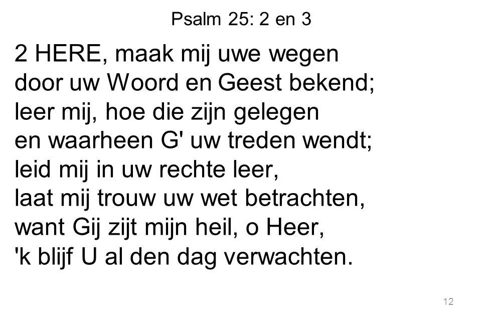 Psalm 25: 2 en 3 2 HERE, maak mij uwe wegen door uw Woord en Geest bekend; leer mij, hoe die zijn gelegen en waarheen G' uw treden wendt; leid mij in