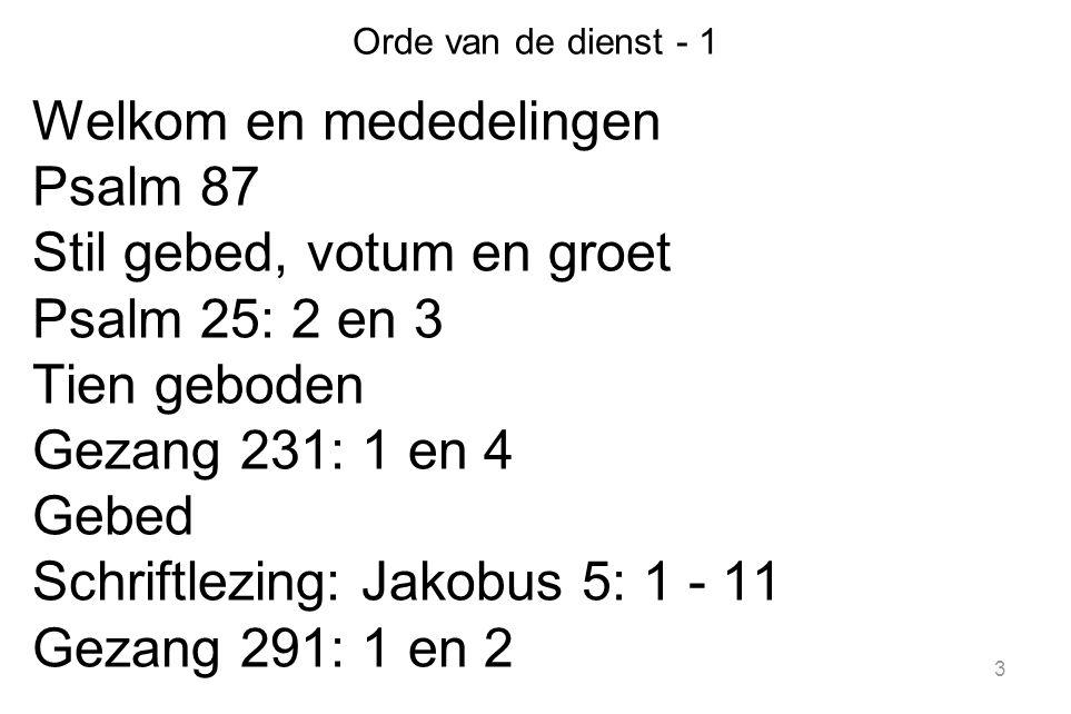 3 Orde van de dienst - 1 Welkom en mededelingen Psalm 87 Stil gebed, votum en groet Psalm 25: 2 en 3 Tien geboden Gezang 231: 1 en 4 Gebed Schriftlezi