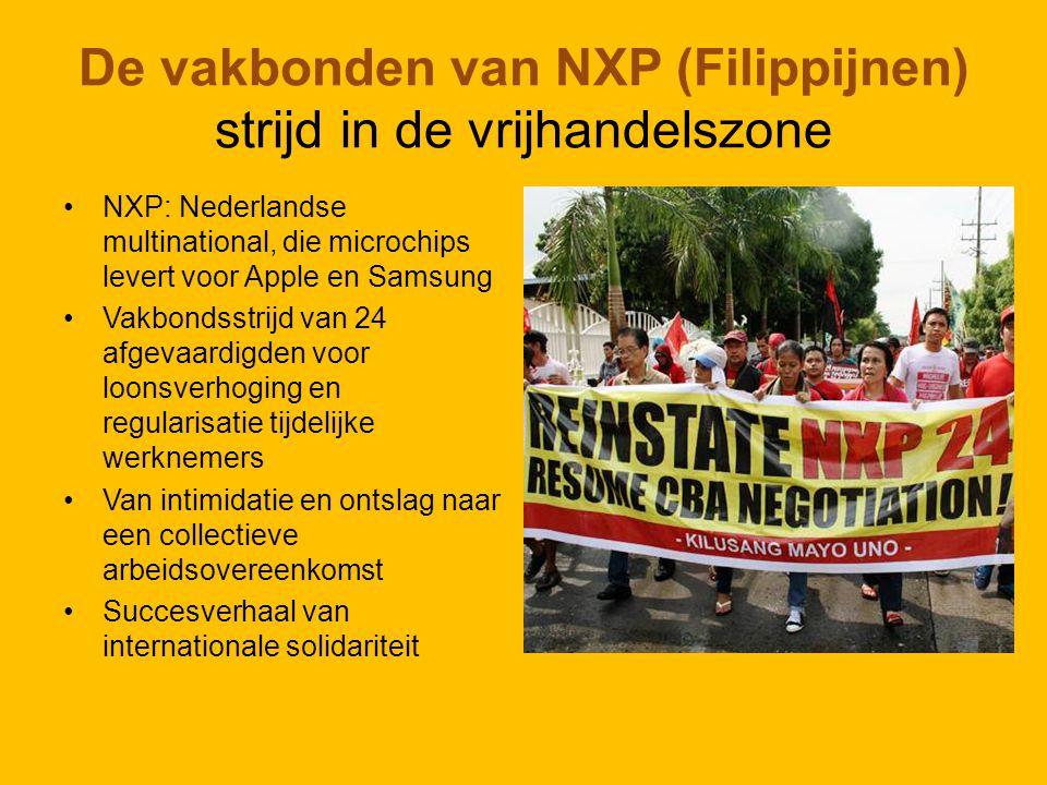 De vakbonden van NXP (Filippijnen) strijd in de vrijhandelszone NXP: Nederlandse multinational, die microchips levert voor Apple en Samsung Vakbondsstrijd van 24 afgevaardigden voor loonsverhoging en regularisatie tijdelijke werknemers Van intimidatie en ontslag naar een collectieve arbeidsovereenkomst Succesverhaal van internationale solidariteit