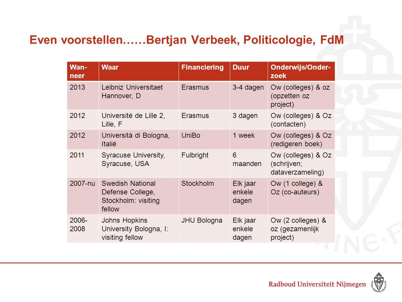 Even voorstellen……Bertjan Verbeek, Politicologie, FdM Wan- neer WaarFinancieringDuurOnderwijs/Onder- zoek 2013Leibniz Universitaet Hannover, D Erasmus