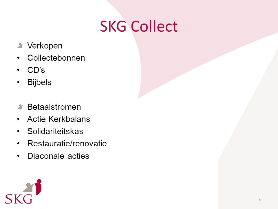 SKG Collect 6 Verkopen Collectebonnen CD's Bijbels Betaalstromen Actie Kerkbalans Solidariteitskas Restauratie/renovatie Diaconale acties