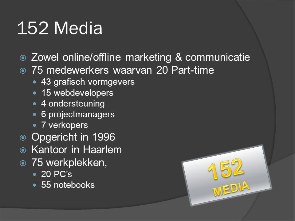 152 Media  Zowel online/offline marketing & communicatie  75 medewerkers waarvan 20 Part-time 43 grafisch vormgevers 15 webdevelopers 4 ondersteunin