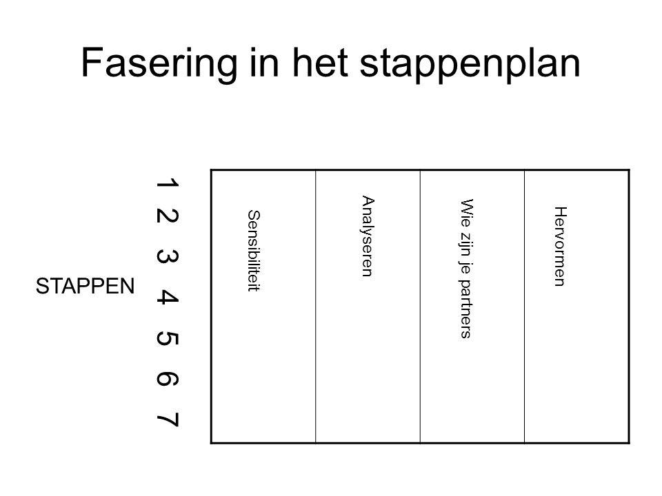 Fasering in het stappenplan Analyseren Hervormen Wie zijn je partners Sensibiliteit 1 2 3 4 5 6 7 STAPPEN