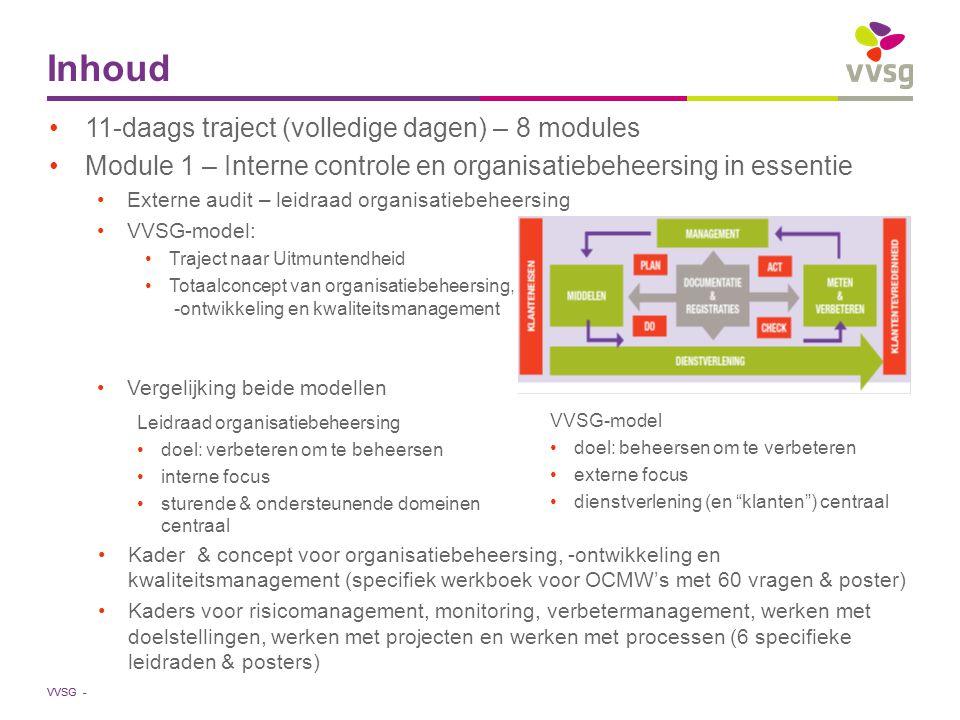 VVSG - Inhoud Module 2 – personeelsbeleid Module 3 – financieel management Module 4 – ICT-beleid Module 5 – facility management Module 6 – informatie en communicatie Module 7 - organisatiestructuur en –cultuur, belanghebbendenmanagement en ethiek (6 roze werkboeken & posters) Module 8: organisatieontwikkeling en de kunst en kunde van permanent verbeteren Terugkommoment Focus op verbetermanagement Aanzet tot vervolg na de 11-daagse Per module Toepassing van kaders op maat: specifiek werkboek + poster Toepassing van de 6 leidraden + posters