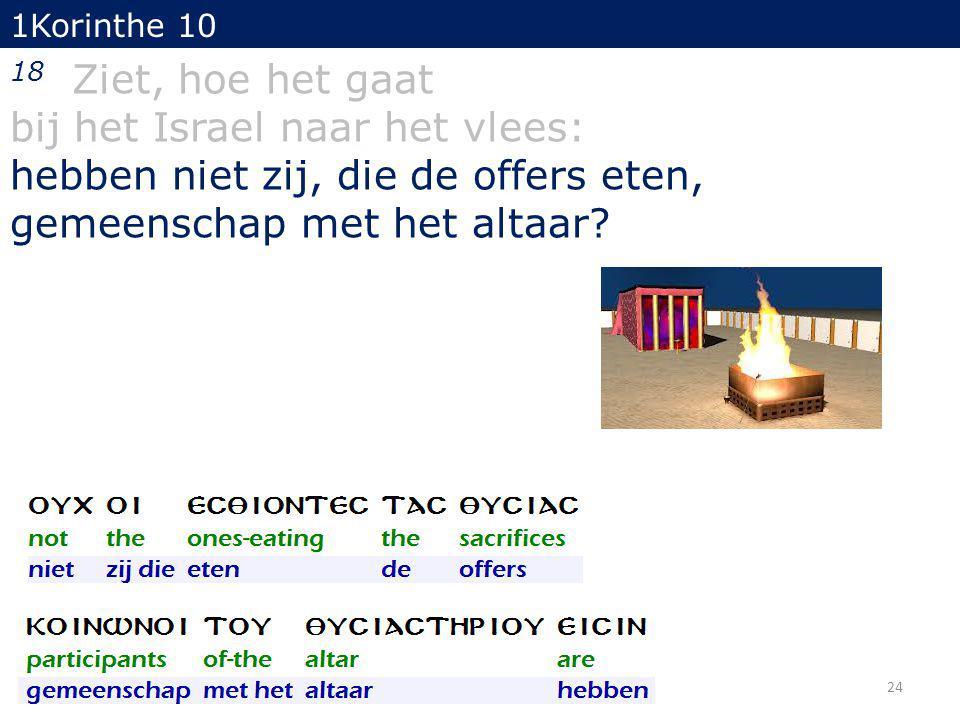 1Korinthe 10 18 Ziet, hoe het gaat bij het Israel naar het vlees: hebben niet zij, die de offers eten, gemeenschap met het altaar.
