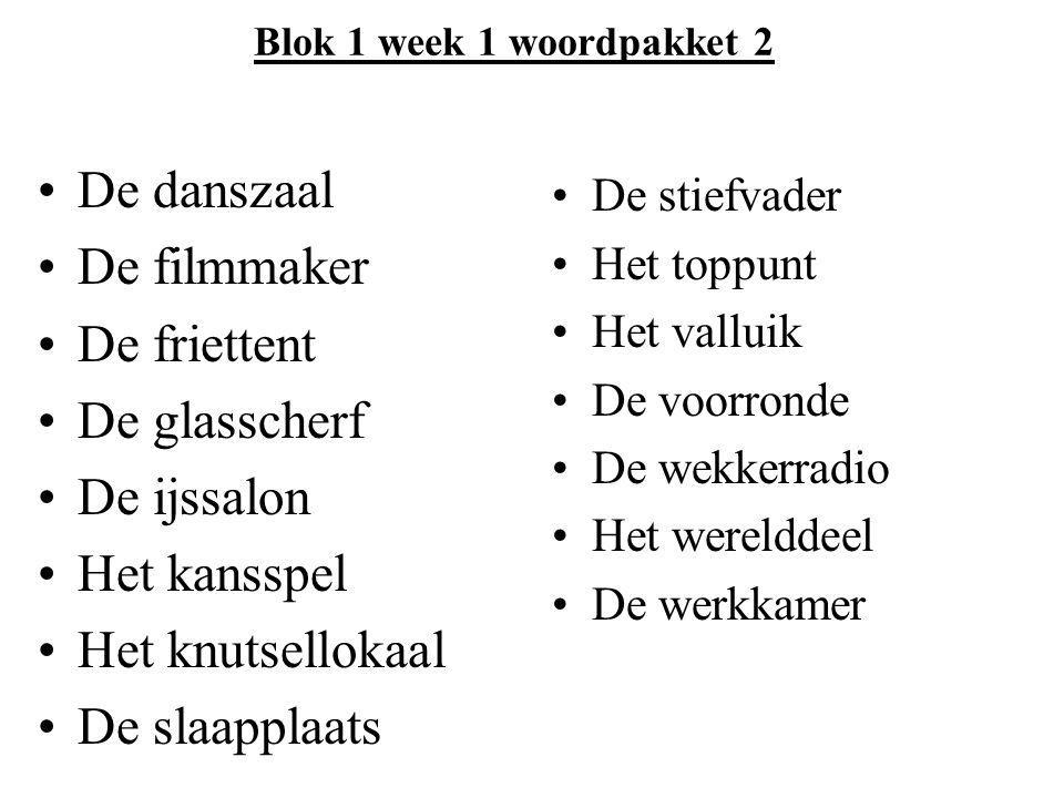 Blok 1 week 1 woordpakket 2 De danszaal De filmmaker De friettent De glasscherf De ijssalon Het kansspel Het knutsellokaal De slaapplaats De stiefvade