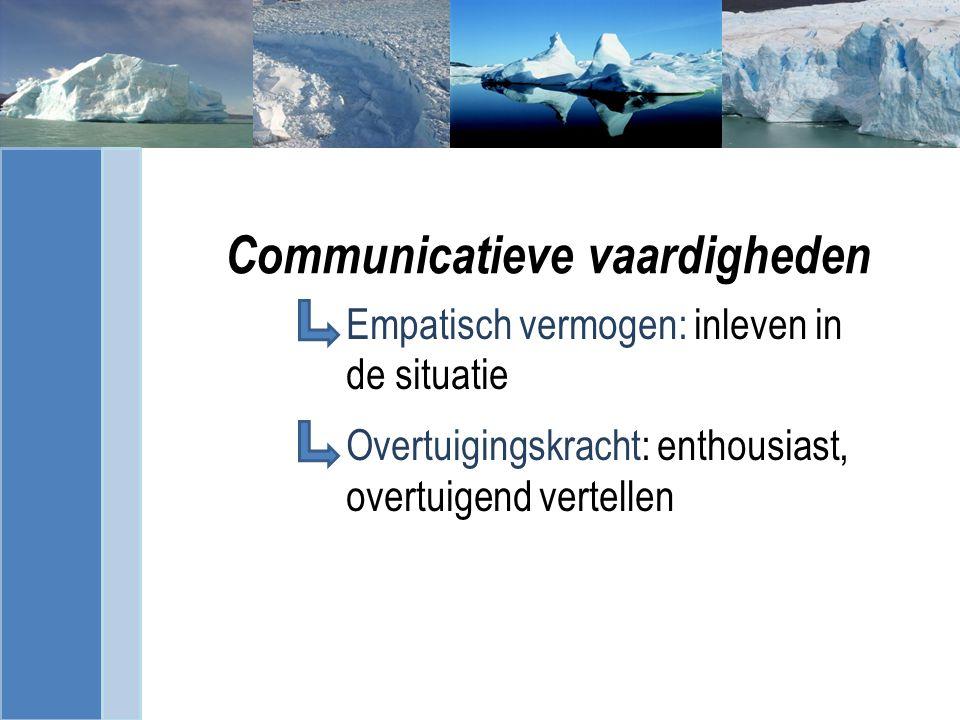 Communicatieve vaardigheden Empatisch vermogen: inleven in de situatie Overtuigingskracht: enthousiast, overtuigend vertellen