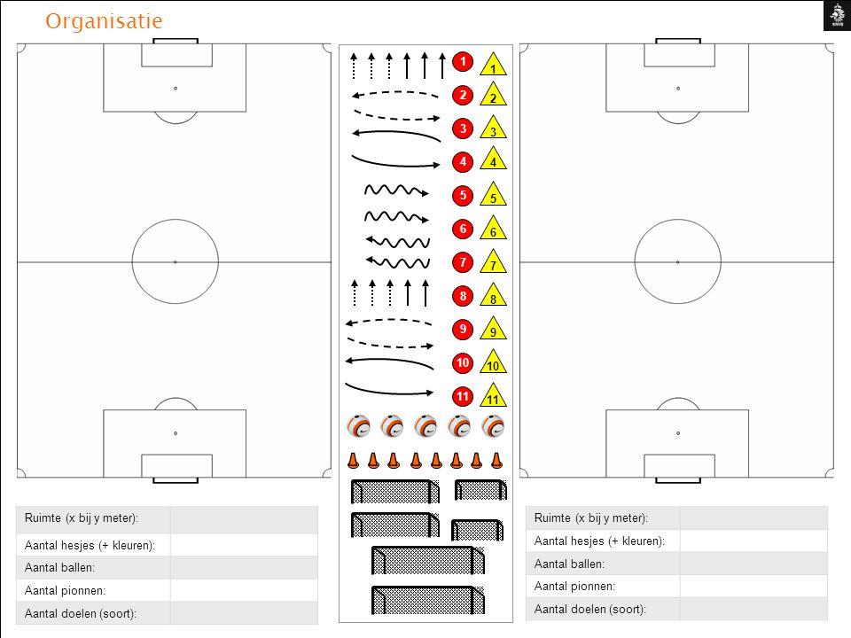 Organisatie 1 10 2 3 4 5 6 7 8 9 11 9 8 7 6 5 4 3 2 1 Ruimte (x bij y meter): Aantal hesjes (+ kleuren): Aantal ballen: Aantal pionnen: Aantal doelen