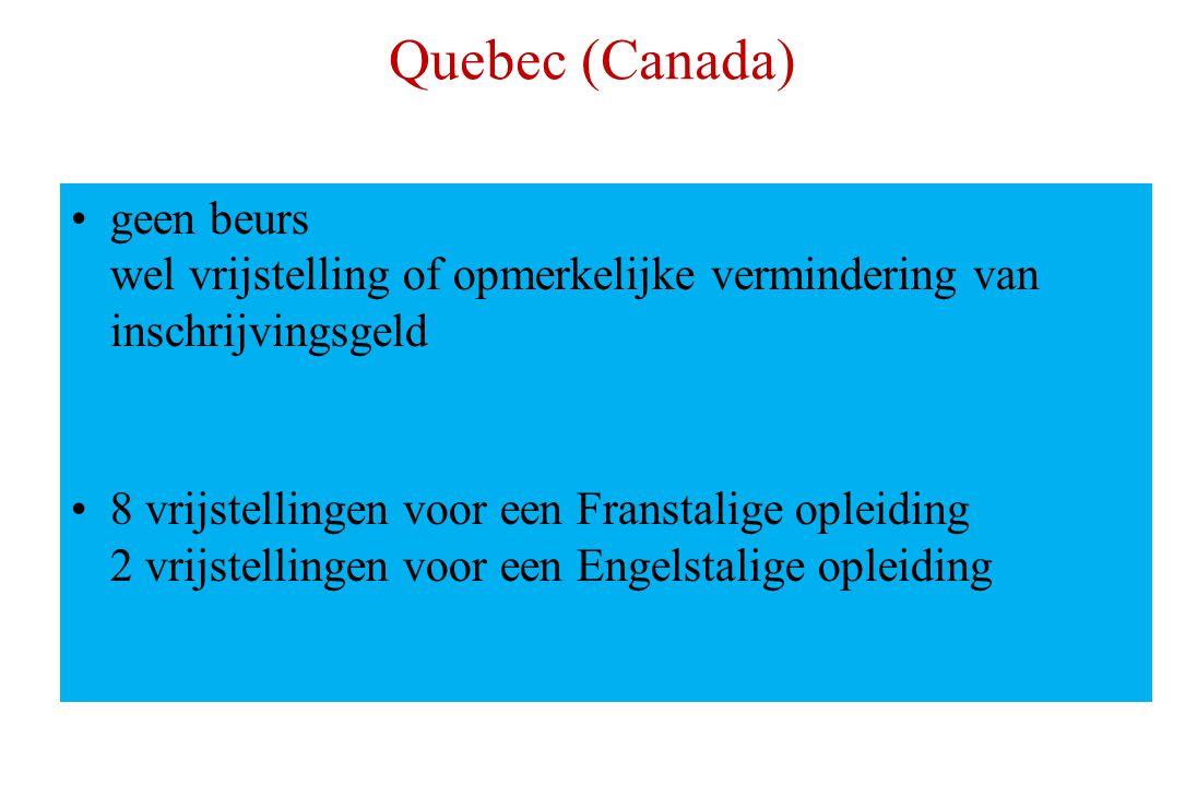 Quebec (Canada) geen beurs wel vrijstelling of opmerkelijke vermindering van inschrijvingsgeld 8 vrijstellingen voor een Franstalige opleiding 2 vrijstellingen voor een Engelstalige opleiding
